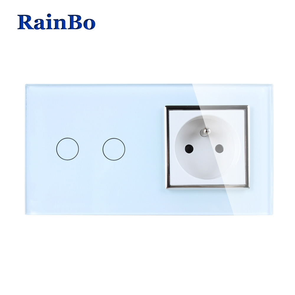 RainBo Luxury Touch Screen Control Tempered crystal Glass Panel Wall Light Home touch Switch France Wall Socket A29218FCW/B atlantic switch tempered glass phone tv socket model luxury crystal glass panel weak current socket telephone television outlet