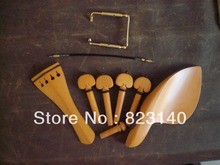1 Set BOXWOOD Violin Fitting 4/4 with 1 PC tail gut and 1 PC GOLD Chin Rest Screw
