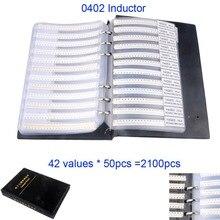 2100 шт./компл. 0402 SMD катушка индуктивности, книга для образцов, ассортимент, 42 значения x 50 шт.