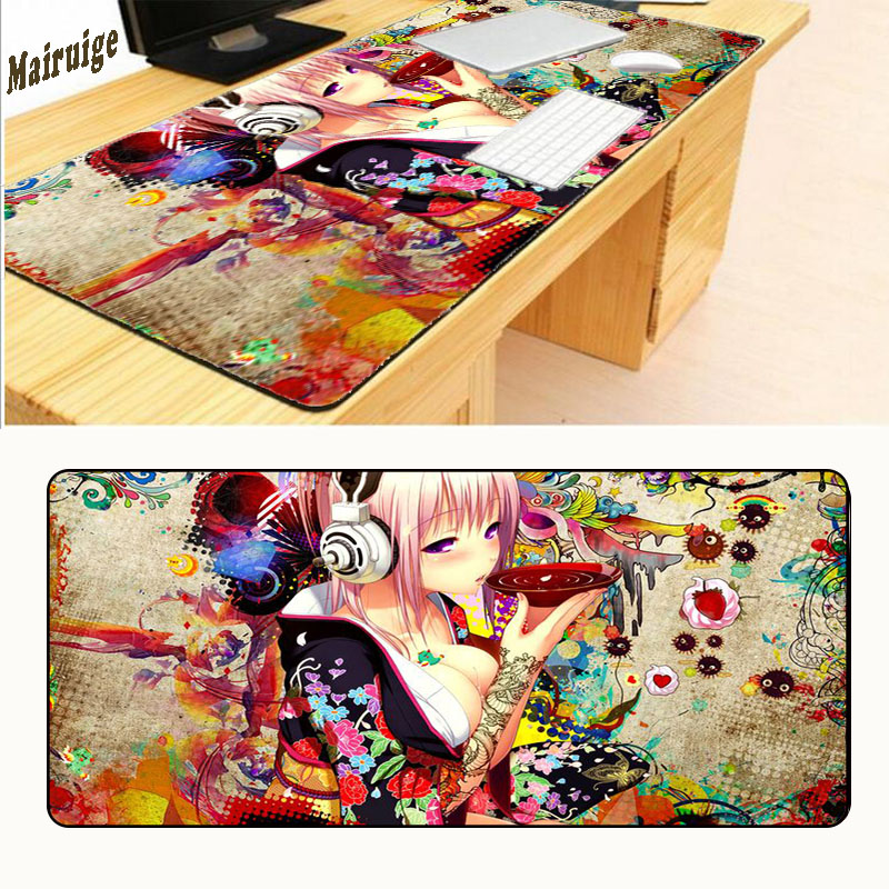 Mairuige Print Locking Edge Rubber <font><b>XL</b></font> 90 X 40cm Japan <font><b>Anime</b></font> <font><b>Mousepad</b></font> Game Gamer Gaming Mouse Pad Best Wife Girl Friend Sister image