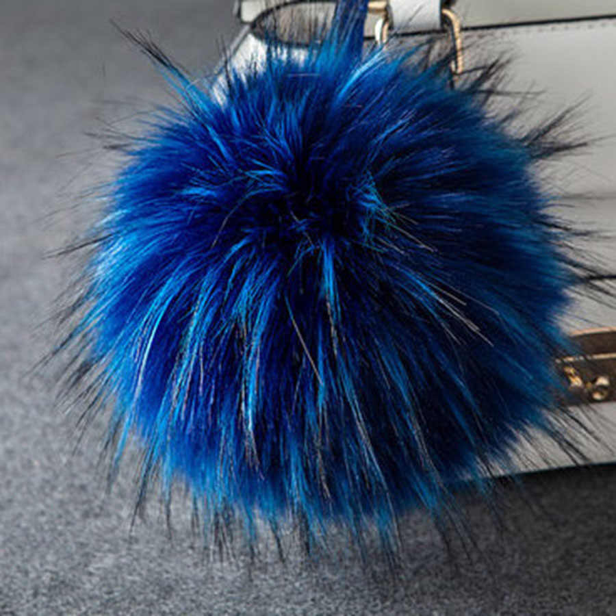 10CM Bola de felpa esponjosa moda piel sintética de mapache bola lindo llavero pompón bola sombrero Pom pon mujeres bolsa zapatos colgante joyería