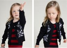 Baby Girl Sweater 2015 Fashion Kids Girls daisy Embroidery Printed Outerwear Children Knitted Sweaters free delivery