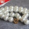 2015 Nueva 14mm Blanco Concha de Perla Collar de Perlas Para Las Mujeres Niñas Regalos de Joyería de Moda de Diseño de 18 pulgadas venta al por mayor