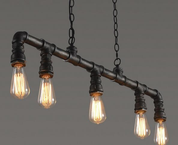 Awesome Retro Edison Bar dining room KTV Lighting Vintage Pendant Lights Water Pipe Pendant Lamp for Warehouse E27 Edison Bulbs Free in Pendant Lights from Lights In 2019 - Best of edison pendant light For Your House
