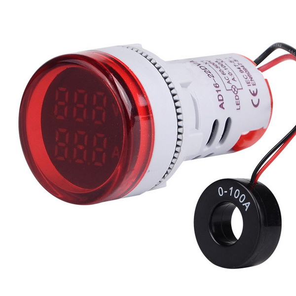 DHL 100pcs Power AC 60 500V 6 100A 22mm Digital Ampermeter Monitor Current Indicator Signal Light