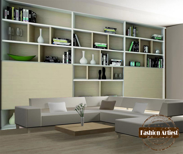Ordinaire Custom Modern 3d Wallpaper Mural Bookshelf Book Case Wall Show Cabinet Sofa  Bedroom Living Room Cafe