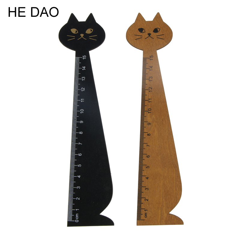 15cm Lovely Cat Shape Ruler Cute Wood Animal Straight Ruler Gift For Kids School Supplies Stationery Black Yellow 1 Pc