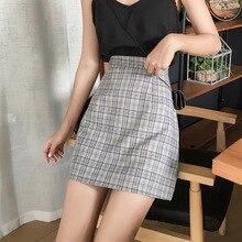 Sweet Women Korean Fashion Wild Plaid A-Line Skirts Summer Casual High Waist Skirt Ladies Sexy Mini Clothes