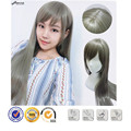 Sexy Lady Long Synthetic Grey Straight Wigs Anime Cosplay Costume Grey Mix Cute Fringe U Part Hair Highlights Pelucas Drag Queen
