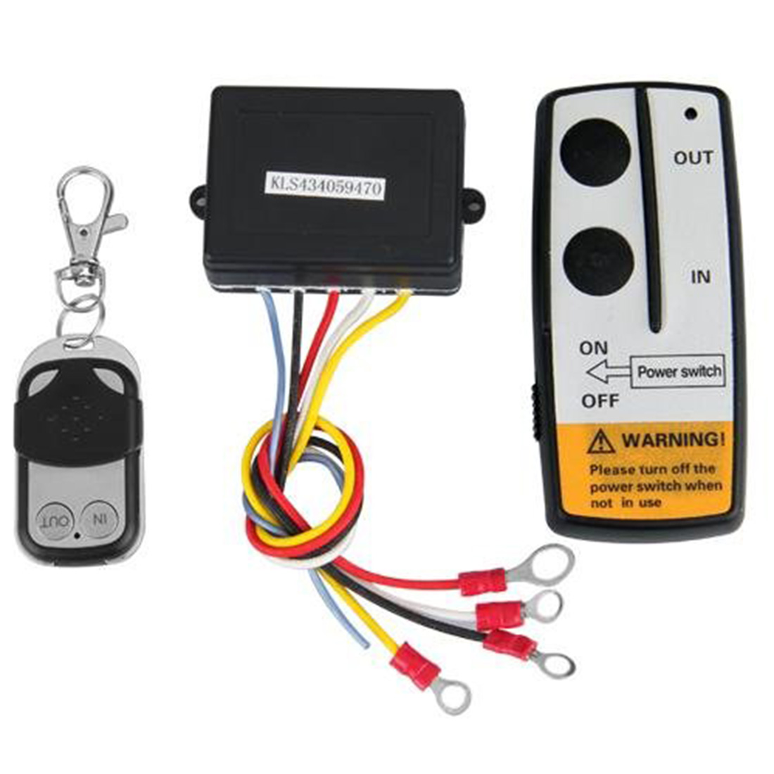 Marsnaska New DC 12V Volt Black Wireless 50FT Remote Control Kit for Winch Latest Indicator Light Universal Switch Handset