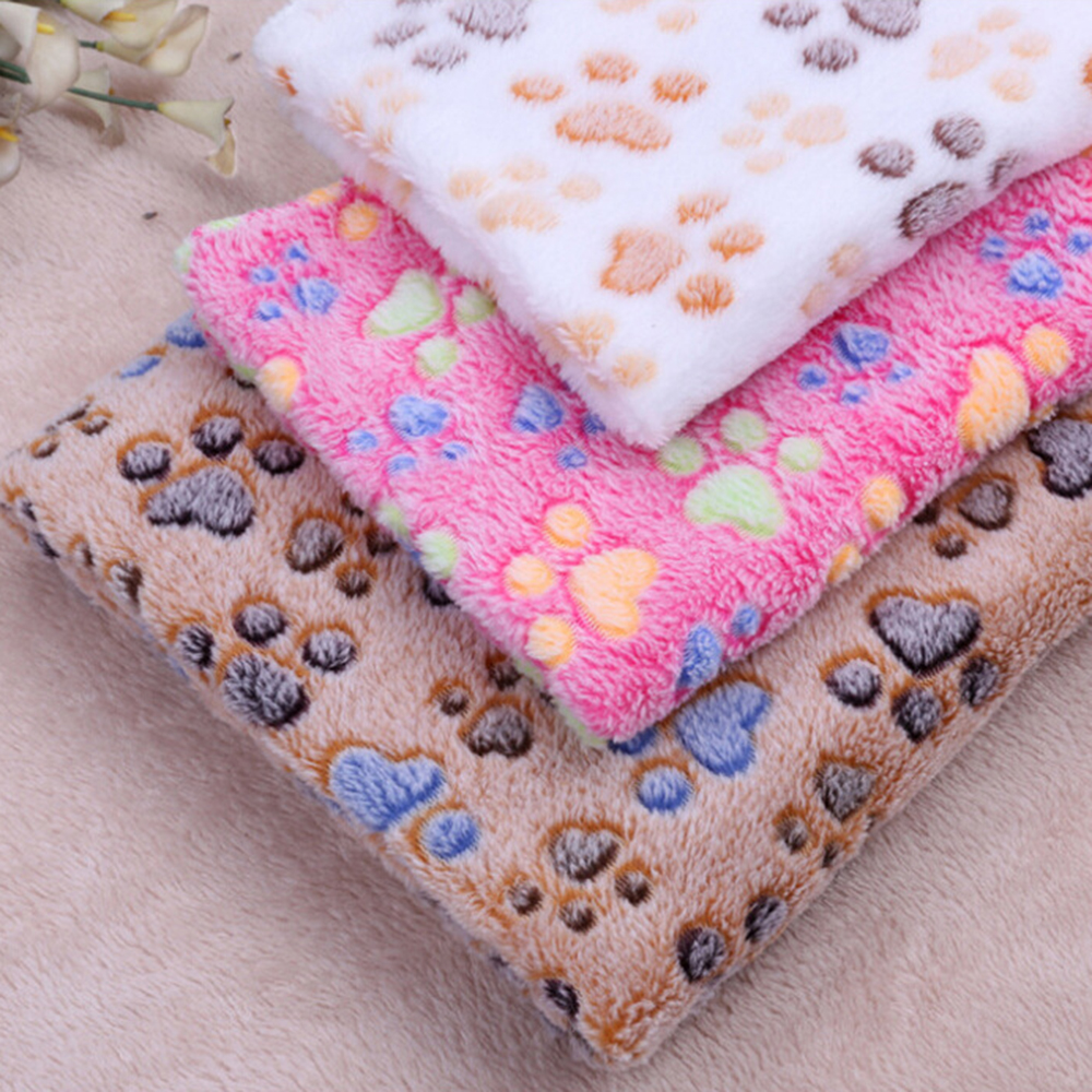 Amiable Pet Towel Blanket For Dogs Animals Lovely Paw Print Keep Warm Coral Fleece Soft Mat Cat Puppy Bed Sofa Cushion Supplies 100x80cm Beautiful In Colour Dog Grooming