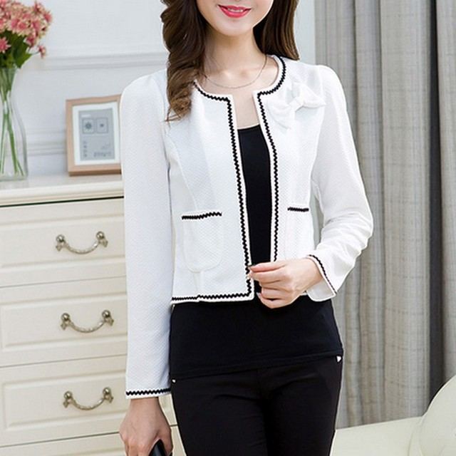 Fashion Hit Color Elegant Women Blazers Round Neck Long Sleeve Formal Jackets S-3XL Casaco Patch Bow Knot Slim Women Blazers 1