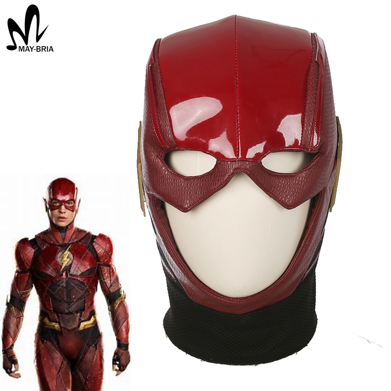 New Justice League Flash Helmet Halloween cosplay accessory the Flash Hat red leather Helmet for adult cosplay hat