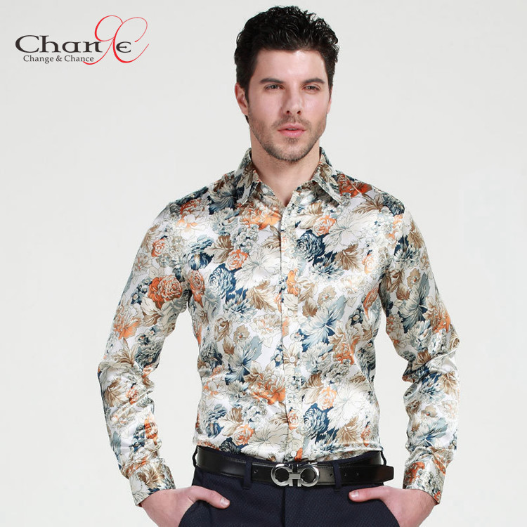 Quality Mens Floral Print Shirt Mens Long Sleeve Silk Shirts 2015 ...
