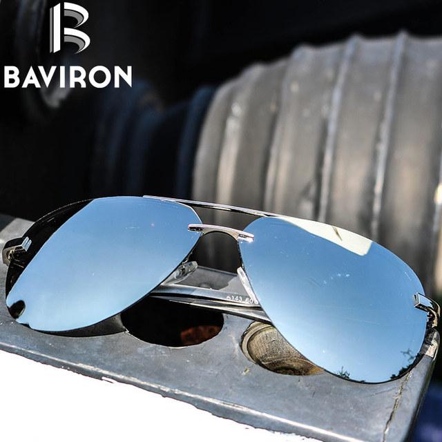 BAVIRON Tecnologia Semi Rimless Aviador Óculos De Sol De Prata Lente Polarizada Espelhado Uma Visibilidade Clara Fresco dos homens Óculos de Condução 143