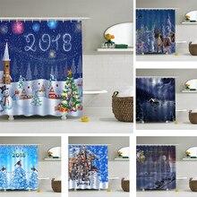 3D Christmas Shower Curtain Waterproof Bathroom Curtain 180*180CM Santa New Year Home Decor with Hooks cortina de ducha P15