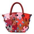 Patchwork de luxo Genuíno Couro De Vaca Mulheres Bag Top Qualidade Bolsas Femininas Mensageiro Sacos de Designer de bolsa de Ombro Fêmea Sacos Crossbody