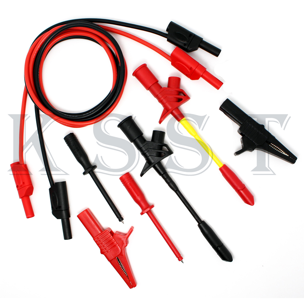 DMM120 Multimeter lead wire kit Automobile maintenance test probe crocodile test clip test leads Red Black utl16 multimeter test lead cable red black 2 pcs