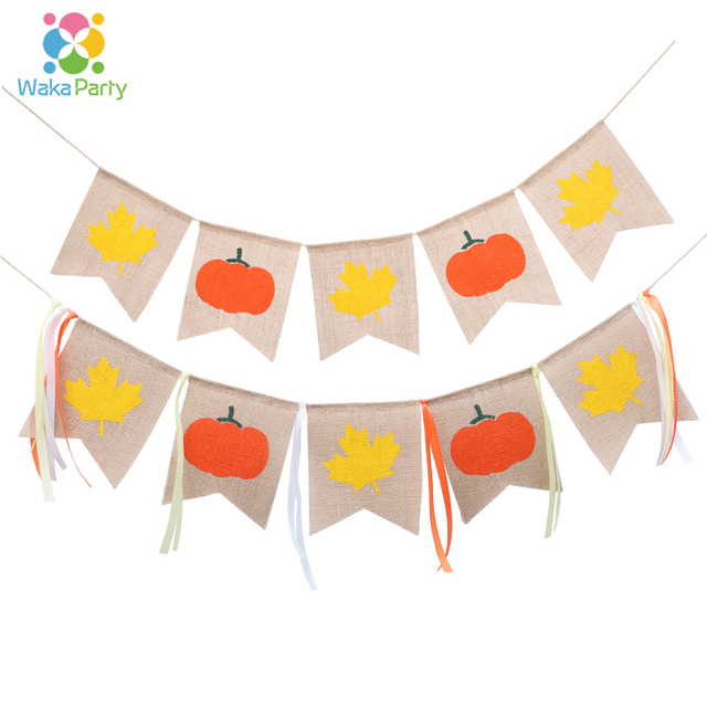 Thanksgiving Day Maple Pumpkin Bunting Banner Garland For Thanksgiving Day Party Home Garden Wall Hanging Decorations