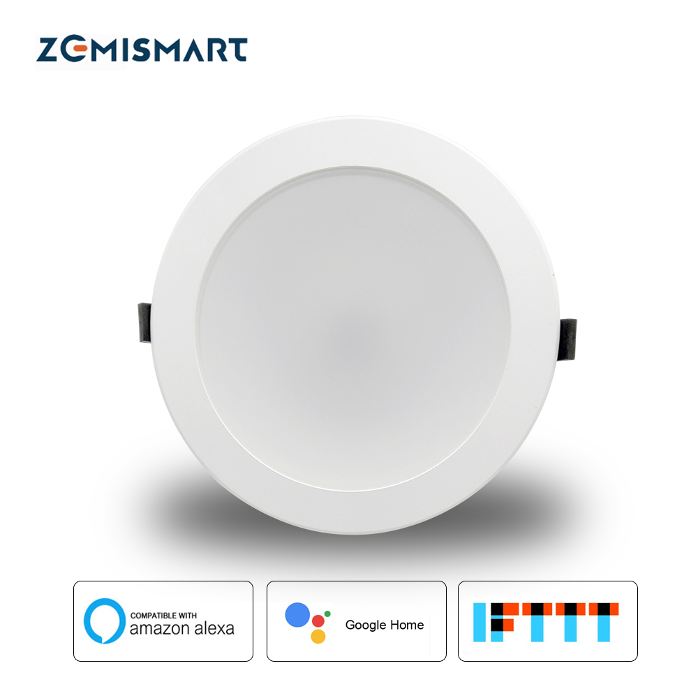 Zemismart 6 inch WiFi RGBW Led Downlight 10w Voice Control by Alexa Echo Dot Spot Show Google Home Assistant Home Automation
