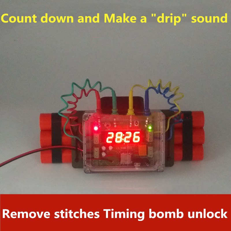Dismantling Count Down Time Bomb Open 12V Lock Disassembly Line Password Remote Detonating Bomb Real Life Room Escape Prop