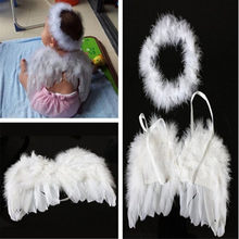 2017 Newborn Baby Headwear Kids Fairy Angel Wing Feather Headbands Costume Photo Prop for Gift Present Party DW870565(China)