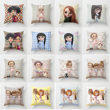 Hot sale cute girl cartoon pillow case men women girls ladies square cases beauty  throw cover 45*45cm