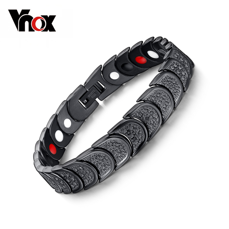 VNOX 4 in 1 Health Care Bracelet for Men Jewelry Magnetic Pain Relief for Arthritis and Carpal Tunnel Adjustable Size