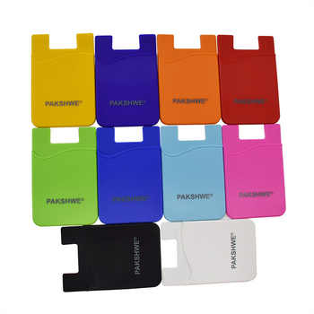 500x Customized Logo Phone Card Holder Silicone Case Back Sticker Wallet for iPhone All Smartphones Universal