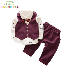 Spring Baby Boys Handsome Clothing Sets 2017 Kids Clothes Sets Toddler Boys Clothing Baby Boy Clothe Gentleman Suit bow Tie A068