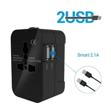 цена на International Travel Adapter Dual USB Charging Ports for US EU UK AU Cell Phone All in One Universal Power Adapter AC Power Plug
