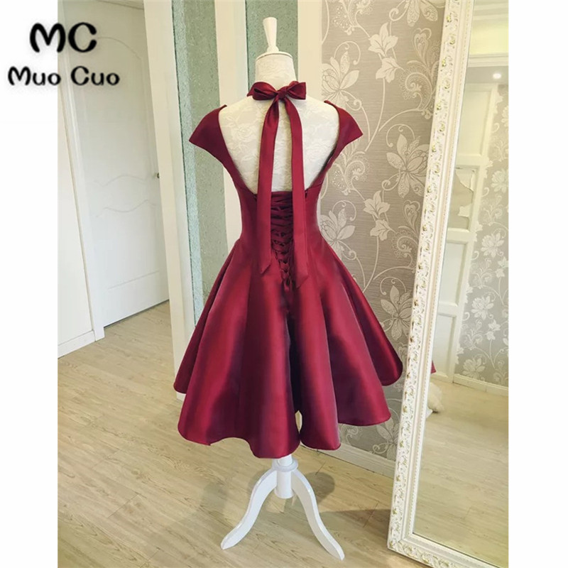 Burgundy Satin Short Prom Dresses With Cap Sleevesss