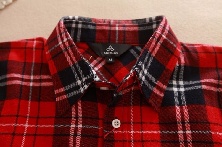 2017 hot sprzedaż jesień zima panie kobieta casual cotton lapel bluzka bluzki z długim rękawem kratę koszula kobiet szczupła odzieży wierzchniej clothing 11
