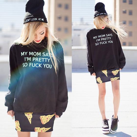Harajuku Mulheres Camisola Jumper de Minha Mãe Diz Que sou Bem assim foda você Letras Casuais Casaco Com Capuz Para Senhora de Rua Do Moderno Preto branco