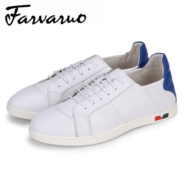 Farvarwo Men's Casual Shoes Spring Summer Lightweight Breathable Flats Mens White Brand Sneakers Round Toe Genuine Leather Shoes