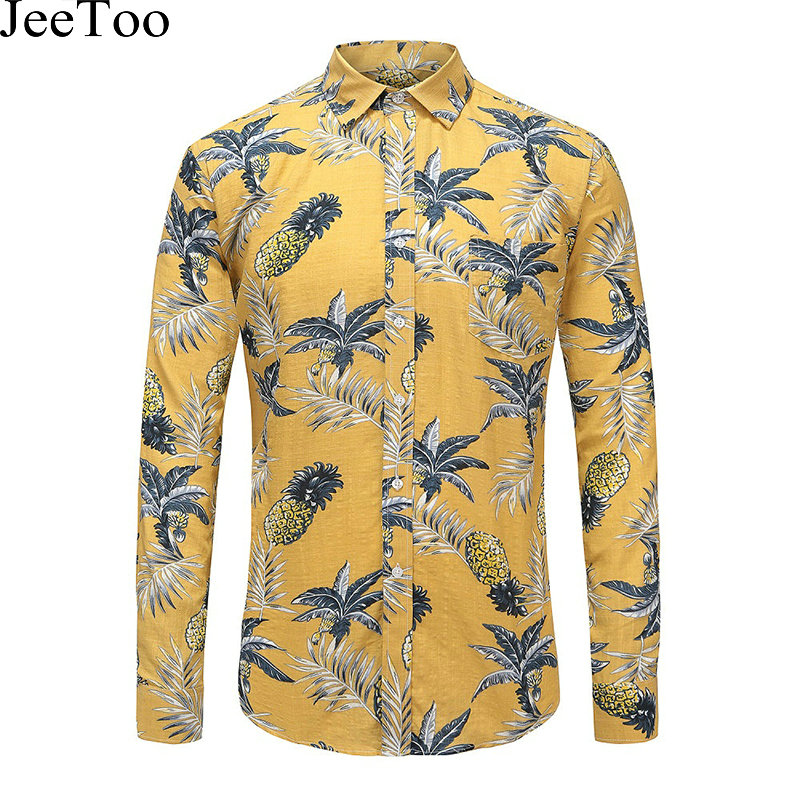 Jeetoo floral mens shirts long sleeve print pineapple mens for Mens slim hawaiian shirt