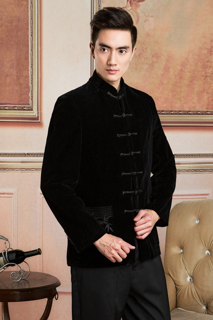 Traditional Chinese Tops For Men Black Velvet Jackets Mandarin Collar Single-breased Embroidery Chinese Men Tang Suit Tops