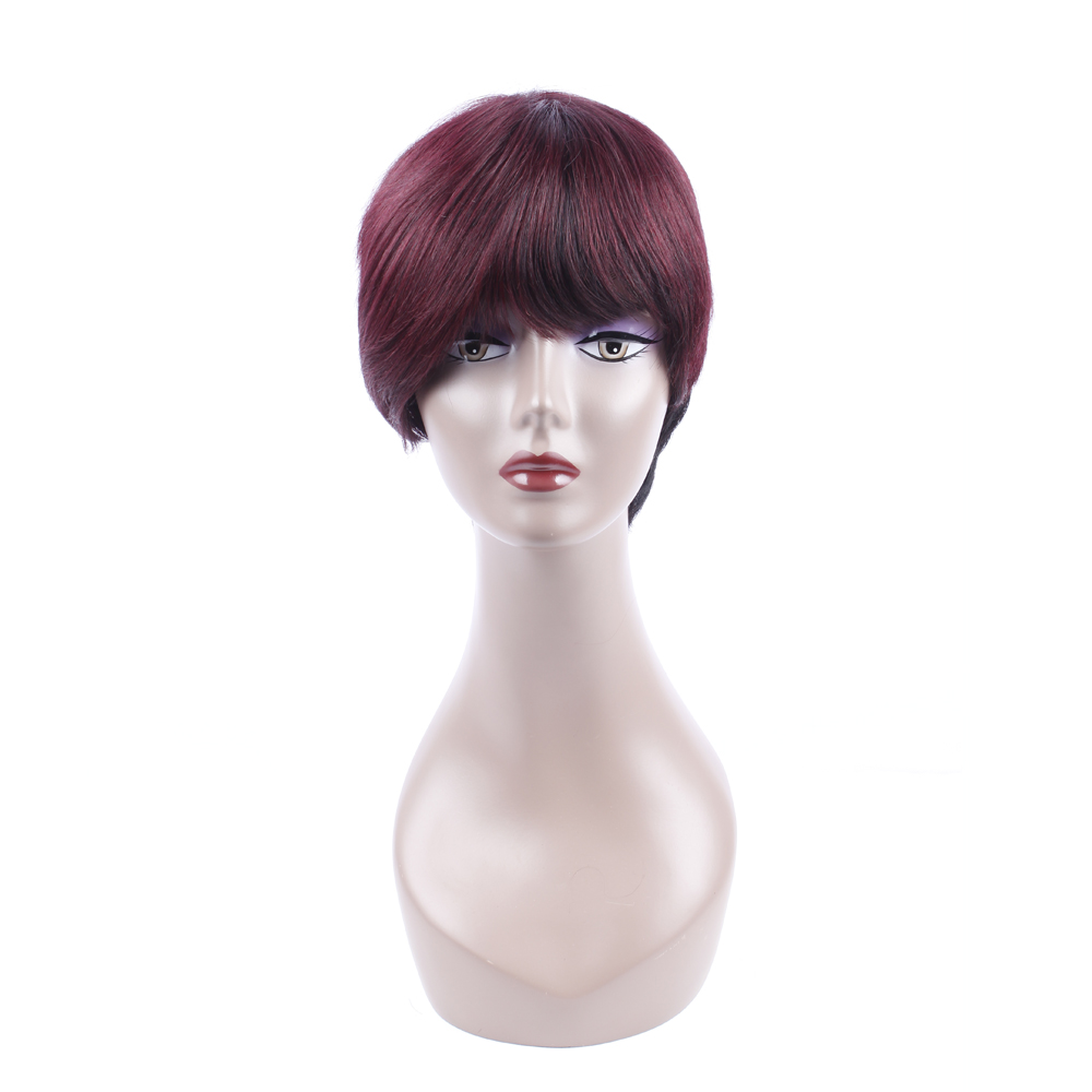 Short Straight Bob Wig 1B/99J for Woman Peruvian Non-Remy Human Hair Wigs With Baby Hair Pre Plucked HCDIVA Hair