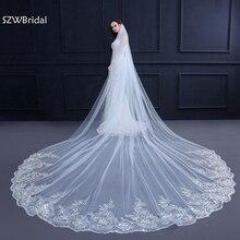 3 метра белая слоновая кость Соборная свадебная вуаль длинная кружевная кромка свадебная вуаль с гребнем свадебные аксессуары свадебная вуаль для невесты