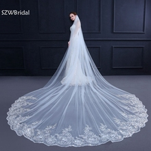 3 Meter White Ivory Cathedral Wedding Veils Long Lace Edge Bridal Veil with Comb Wedding Accessories Bride Veu Wedding Veil cheap SZWBridal Polyester Adult One-Layer Cathedral Veil WOMEN Bridal Veils Appliqued