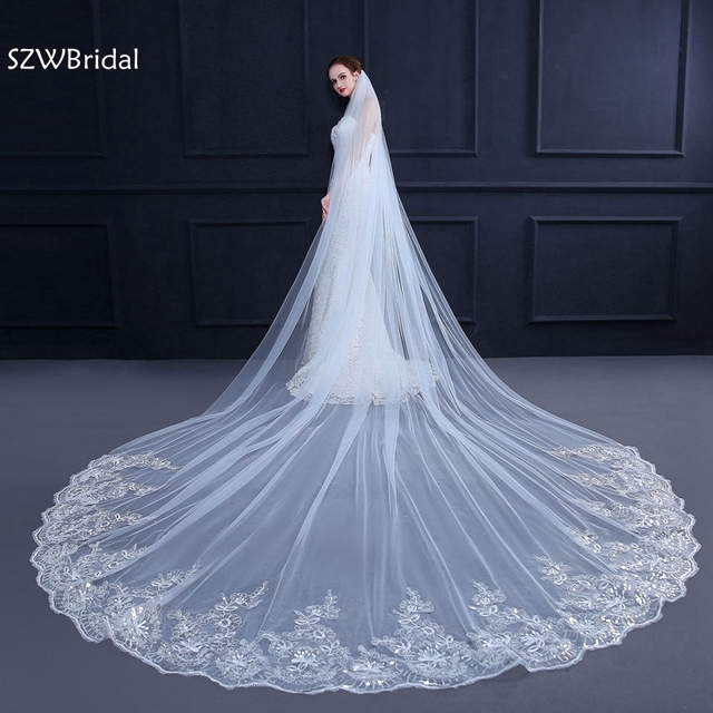 222059bc6db 3 Meter White Ivory Cathedral Wedding Veils Long Lace Edge Bridal Veil with  Comb Wedding Accessories