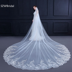 3 medidor Branco Marfim Catedral Véus De Noiva Borda Do Laço Longo Véu de Noiva com Pente Acessórios Do Casamento de Noiva Véu de Noiva Véu