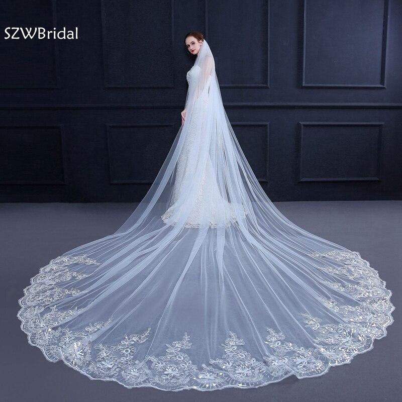 3 metros blanco marfil Catedral boda velo largo de encaje borde velo de novia, peine boda accesorios novia voz velo de boda