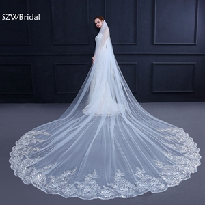 Image 1 - Velo de novia con borde de encaje, velo de novia con borde de encaje blanco marfil de 3 metros, accesorios de boda