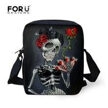 FORUDESIGNS borse a tracolla da donna Punk 3D Skull borsa a tracolla piccola borsa da donna Mini in tela per donna Bolsas Carteras Mujer Marca