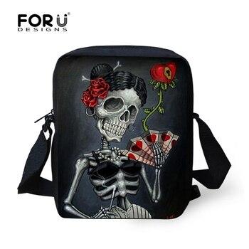 FORUDESIGNS Women Messenger Bags Punk 3D Skull Small Cross-body Bag Ladies Mini Canvas Bag For Women Bolsas Carteras Mujer Marca