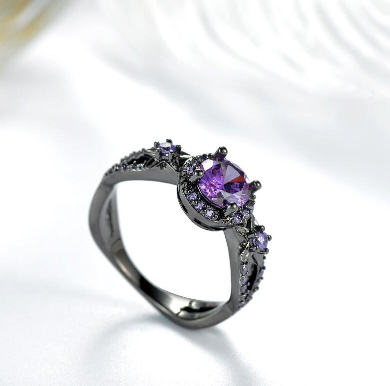 LZX Engagement-Ring Purple Crystal Jewelry Flower Cz-Stone Gold-Filled Black Women Wedding