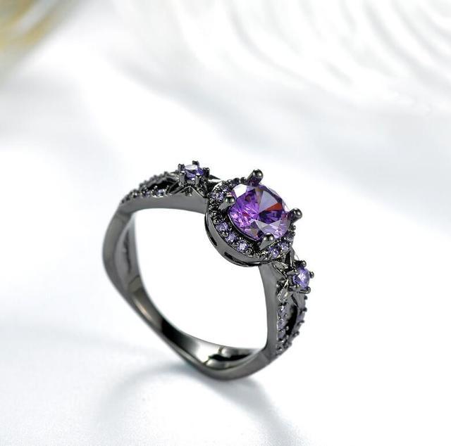Lzx Elegancki Fioletowy Kryształ Pierścionek Zaręczynowy Black Gold