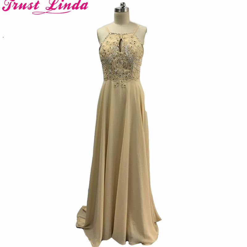 Real Sample Chiffon A-line Halter Beading Crystal Sexy   Bridesmaid     Dresses   Low Back Prom   dresses   New Party   dress   For Bridal