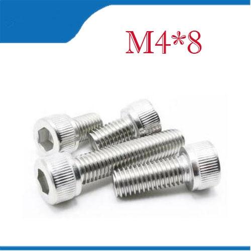 Free Shipping 100pcs/Lot Metric Thread DIN912 M4x8 mm M4*8 mm 304 Stainless Steel Hex Socket Head Cap Screw Bolts все цены